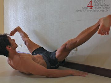 side splits using a wall, yoga poses, reclining yoga poses, yoga pose using a wall