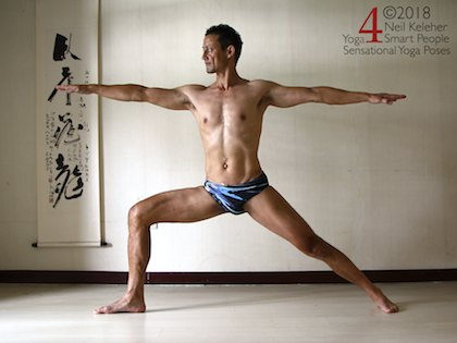 Warrior 2 standing yoga pose. Neil Keleher, sensational Yoga Poses.