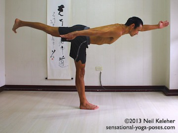Sensational Yoga Poses, Model Neil Keleher. balancing on one leg in warrior 3 with the lifted leg side arm reaching forwards. The other arm is back.