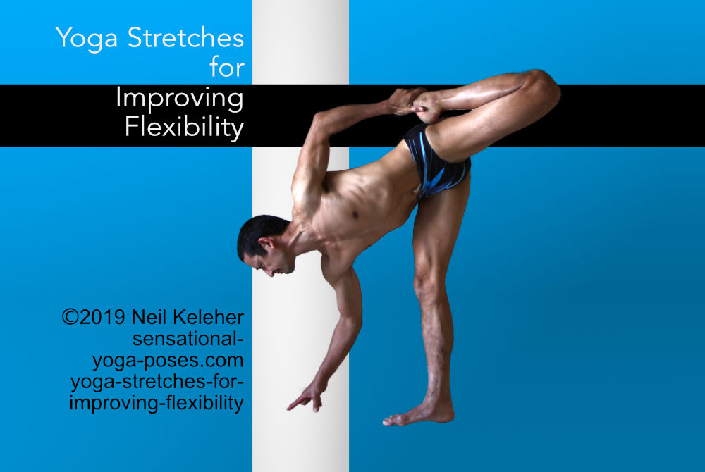 Yoga stretches for improving flexibility. Dancer Standing quad and hamstring stretch variation, Neil Keleher, Sensational Yoga Poses.